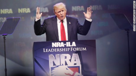 Republican presidential candidate Donald Trump speaks at the National Rifle Association's NRA-ILA Leadership Forum during the NRA Convention at the Kentucky Exposition Center on May 20, 2016 in Louisville, Kentucky.