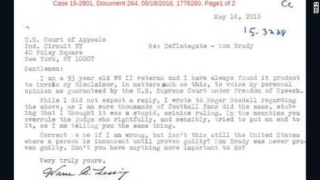 WWII vet, 93, chastises judges in 'DeflateGate'