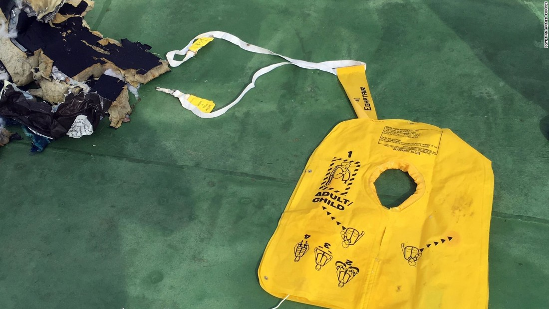 An uninflated life vest is among the debris recovered from the Mediterranean.