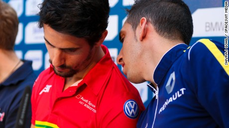 One point separates Lucas di Grassi (L) and Sebastien Buemi in the Formula E World Championship.