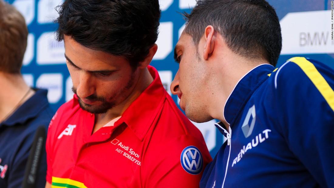 A single point separates Lucas di Grassi (left) and Sebastien Buemi in the Formula E World Championship.