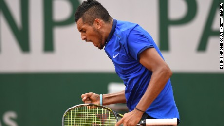 Nick Kyrgios of Australia got fired up during his first round win over Marco Cecchinato of Italy.
