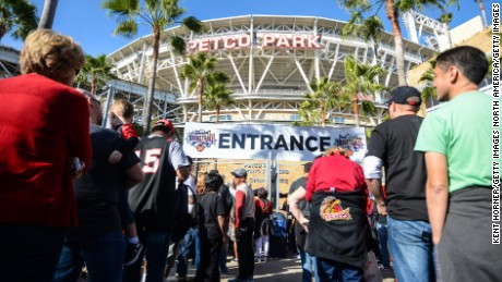 SAN DIEGO, CA - DECEMBER 06:  Fans line up to enter prior to the game against San Diego State Aztecs and the University of San Diego Tereros, part of the Bill Walton Basketball Festival at PETCO Park on December 6, 2015 in San Diego, California.  (Photo by Kent Horner/Getty Images)