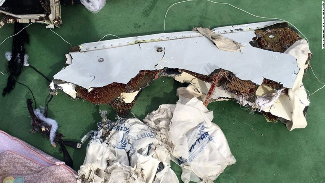 A piece of the wreckage from EgyptAir flight 804 is seen.