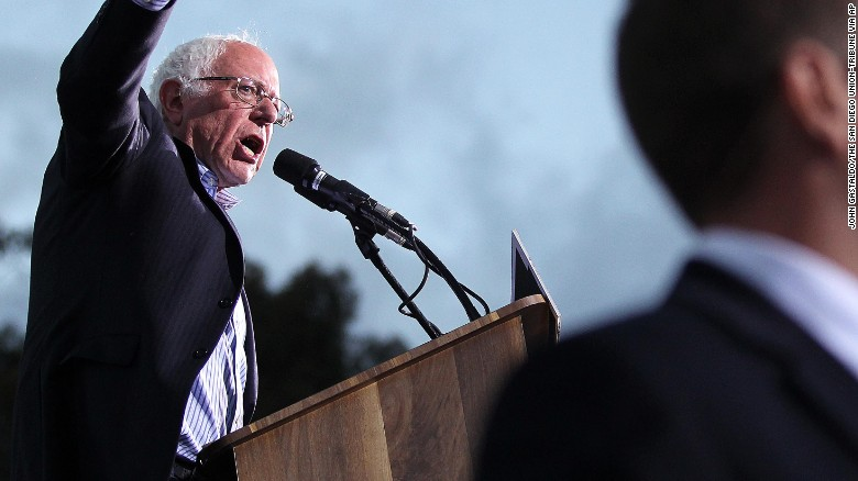 Democratic Presidential candidate Sen. Bernie Sanders, I-Vt., spoke to thousands at Kimball Park in National City, Calif., Saturday, May 21, 2016. He will also speak Sunday in Vista and then leave San Diego County on his campaign before the June 7 California primary. (John Gastaldo/The San Diego Union-Tribune via AP)