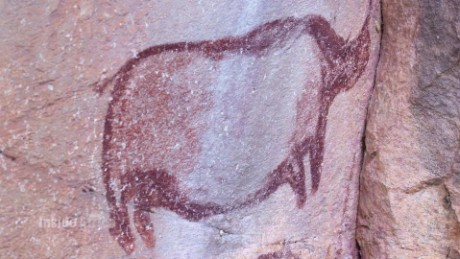 Rock paintings on Botswana's 'Mountains of the Gods'