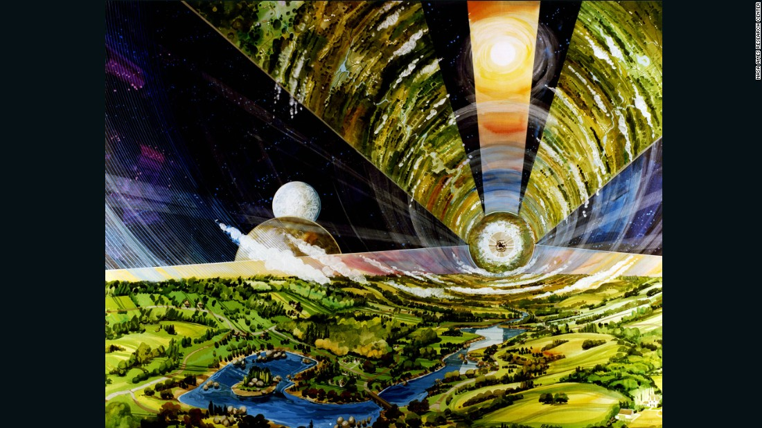 "The Cylindrical Colony -- imagined here by Guidice -- is the most spacious of O'Neill's concepts. The design, later dubbed the 'O'Neill Cylinder', was riffed on in Christopher Nolan's intergalactic blockbuster ""Interstellar"" forty years later."