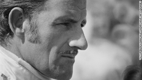 British racing driver Graham Hill (1929 - 1975) at the Grand Prix trials being held at Silverstone, Northamptonshire, 1969. (Photo by Victor Blackman/Daily Express/Hulton Archive/Getty Images)