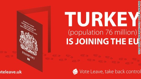 This poster was released by the Vote Leave Campaign depicting an EU passport as an open door, with footprints leading through it.