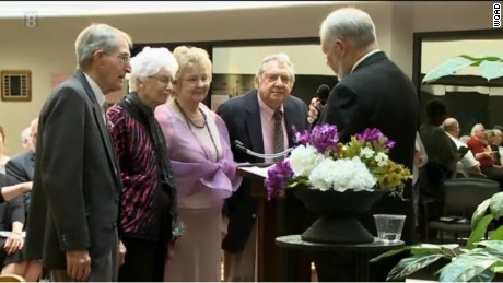 At Crosstown Square in Silvis, two couples have celebrated more than 130 years of marriage and on Saturday, May 21, both pairs took one more walk down the aisle. Melba, 86, and Basil Jordan, 89, have been married for 63 years. Cyril, 95, and Vyonda White, 90, have been married for about 75 years.