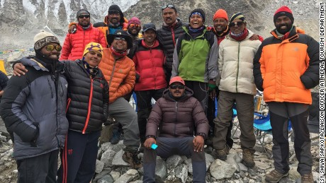Indian climber Subash Paul, who died Sunday, is seen on the far left. Missing climbers Paresh Chandra Nath, second from right, and Goutam Ghosh, third from right, are also seen in the image.