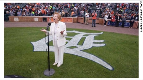 89-year-old Holocaust survivor Hermina Hirsch performed the national anthem at a Detroit Tigers game.