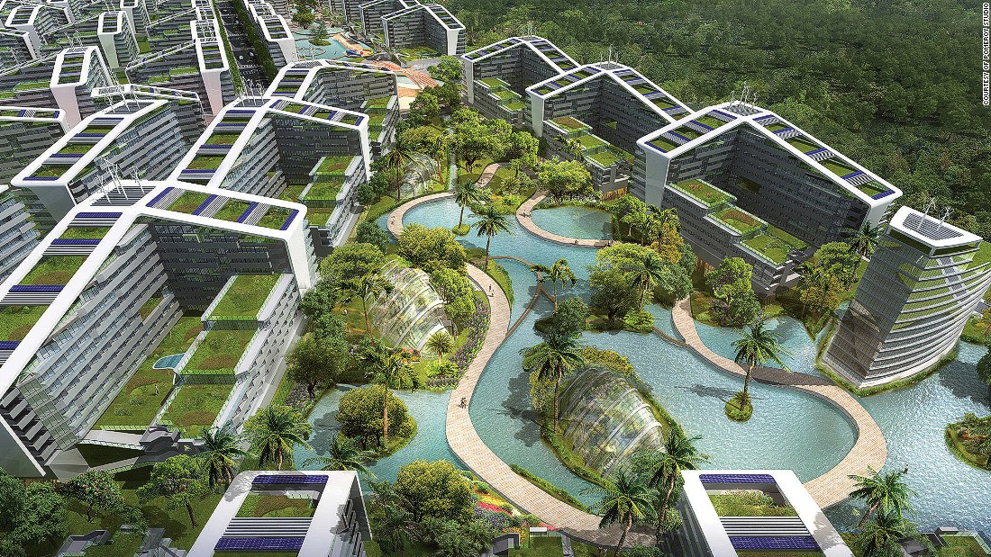 The Novaliches Eco Park in Quezon City, Philippines, is a 50-hectare masterplan design that embraces the natural landscape -- including a reservoir -- to create a series of self-sustaining eco-villages. The design aims to reduce energy and water consumption by 50% through the use of sustainable water recycling, solar panels and automated energy management systems.