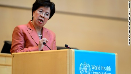 World Health Organization (WHO) Director-General Margaret Chan delivers a speech during the World Health Assembly, with some 3,000 delegates from its 194 member states on May 23, 2016 in Geneva.  The spiralling crisis surrounding the Zika virus is the result of decades of policy failures on mosquito control and poor access to family planning services, the World Health Organization said Monday. / AFP / FABRICE COFFRINI        (Photo credit should read FABRICE COFFRINI/AFP/Getty Images)