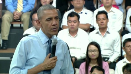 obama ho chi minh city town hall american politics sot _00002517
