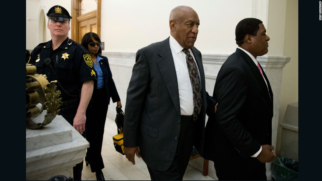 Bill Cosby leaves the Montgomery County Courthouse in Norristown, Pennsylvania, after a preliminary hearing on Tuesday, May 24. A judge found enough evidence during the hearing to proceed with a criminal trial. Cosby faces three counts of felony aggravated indecent assault from a 2004 case involving Andrea Constand, an employee at his alma mater, Temple University. She was the first of more than 50 women who have accused Cosby of sexual misconduct.