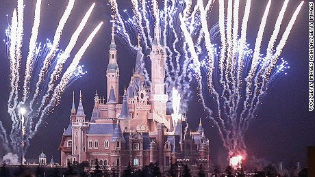 SHANGHAI, CHINA - MARCH 28: (CHINA OUT) Fireworks explode over Shanghai Disneyland park on March 28, 2016 in Shanghai, China. Shanghai Disneyland tested to set off the fireworks for the first time on Monday night.  (Photo by VCG/VCG via Getty Images)