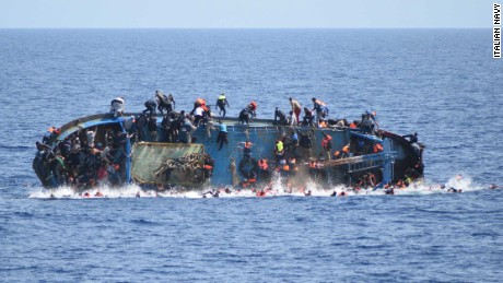 An Italian Navy ship spotted a boat with migrants off the Libyan coast and shortly after the migrant ship flipped for the precarious floating conditions given the hi number of migrants on board. Rescue operations are still ongoing also with the help of an helicopter and of a second Navy vessel. At the moment 500 people have been saved and seven are dead.