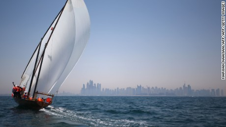 Emiratis sail during the Al-Gaffal traditional long-distance dhow sailing race on May 20, 2016, between the island of Sir Bu Nair, near the Iranian coast, and the Gulf Emirate of Dubai. / AFP / MARWAN NAAMANI        (Photo credit should read MARWAN NAAMANI/AFP/Getty Images)