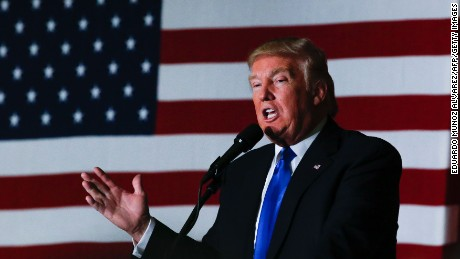 Republican presidential candidate Donald Trump speaks at a fundraising event in Lawrenceville, New Jersey on May 19, 2016.