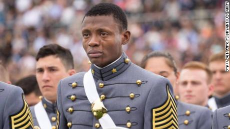 Alix Idrache gets emotional during graduation events at the United States Military Academy