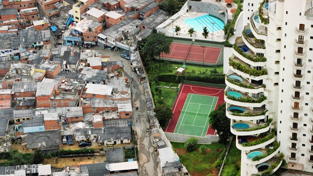 """This image of Sao Paulo's Paraisopólis (""""Paradise City"""") shows the favela's stark contrast of rich and poor."""
