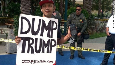 Freelance photographer Billy Williams shot this photo of a protester outside Donald Trump's May 25 rally in Anaheim, California.