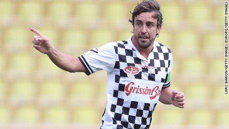 MONTE-CARLO, MONACO - MAY 24:  Fernando Alonso of Spain and McLaren Honda celebrates during the 24th World Stars football match at Stade Louis II, Monaco before the Monaco Formula One Grand Prix at Circuit de Monaco on May 24, 2016 in Monte-Carlo, Monaco.  (Photo by Lars Baron/Getty Images)