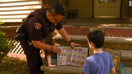 Officer Grotenrath of Cleveland, Ohio gave Bryce, a 9-year-old boy, his Pokemon card collection to replace kid's stolen ones.