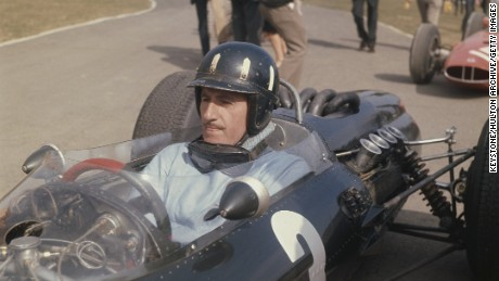 British celebrity motor racing driver Graham Hill (1929 - 1975) at the wheel of his BRM waiting for the start of the Race of Champions at Brands Hatch.    (Photo by Keystone/Getty Images)
