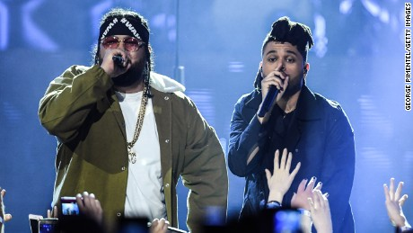 CALGARY, ALBERTA - APRIL 03:  Rapper Belly and The Weeknd perform at the 2016 Juno Awards at Scotiabank Saddledome on April 3, 2016 in Calgary, Canada.  (Photo by George Pimentel/Getty Images)