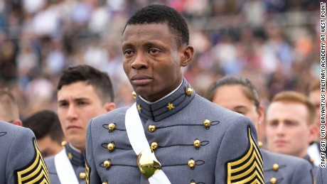 Cadet Alix Idrache sheds tears of joy during the commencement for the U.S. Military Academy's Class of 2016 at Michie Stadium in West Point, May 21.  Nine hundred and fifty-three cadets graduated, which represented approximately 78 percent of the cadets who entered West Point in the summer of 2012. Vice President Joe Biden was the graduation speaker. This is the 218th graduating class of West Point. This class included 151 women, 77 Hispanics, 71 Asian/Pacific Islanders, 69 African-Americans and 12 Native Americans. The class also had 25 combat veterans (24 male, one female).   (U.S. Army photo by: Staff Sgt. Vito T. Bryant)