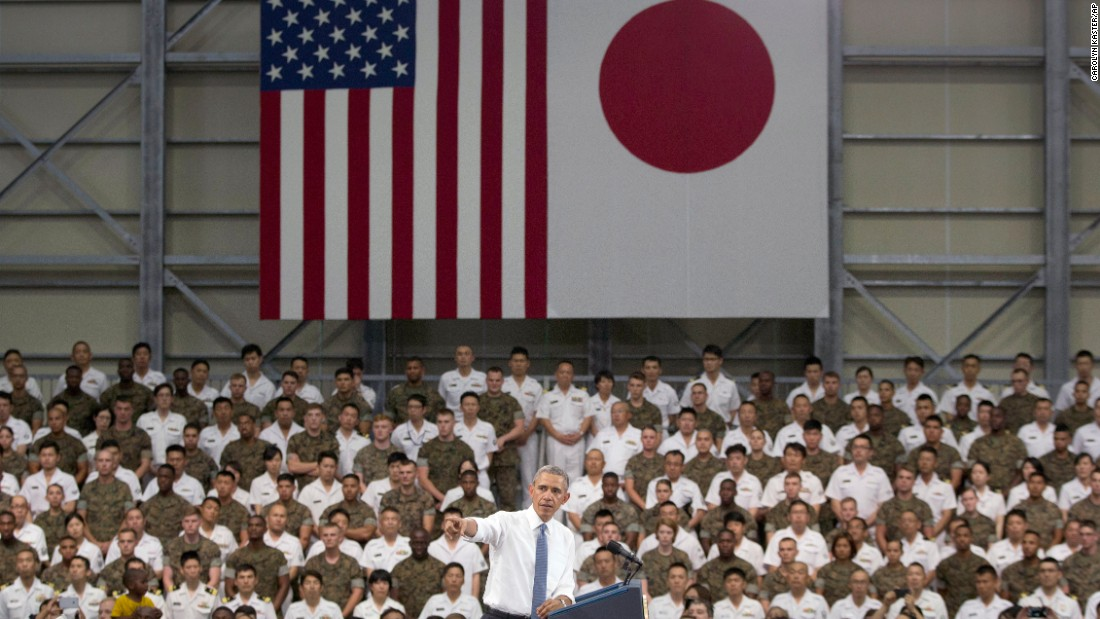 President Obama speaks to members of the U.S. and Japanese military at the Marine Corps Air Station Iwakuni in Japan before continuing to Hiroshima.