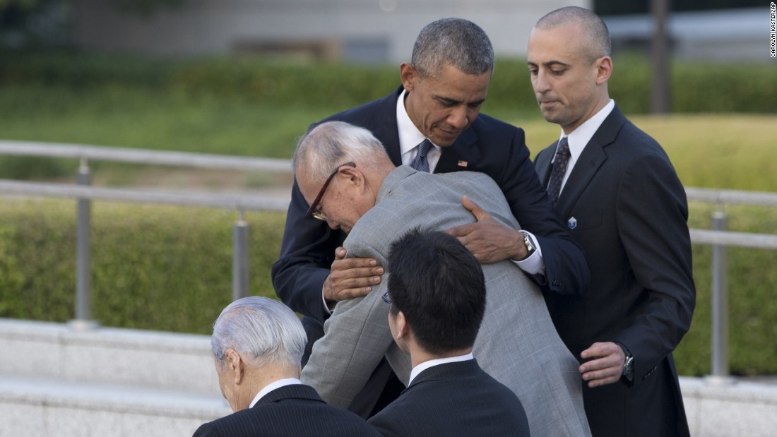 President Barack Obama hugs Shigeaki Mori, an atomic bomb survivor who created the memorial for American WWII POWs killed at Hiroshima, during a ceremony at Hiroshima Peace Memorial Park in Hiroshima, Japan, Friday, May 27. Obama on Friday became the first sitting U.S. president to visit the site of the world's first atomic bomb attack.
