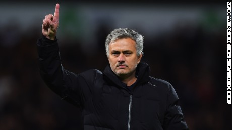 WEST BROMWICH, ENGLAND - MAY 18:  Jose Mourinho manager of Chelsea signals to the travelling fans after defeat during the Barclays Premier League match between West Bromwich Albion and Chelsea at The Hawthorns on May 18, 2015 in West Bromwich, England.  (Photo by Shaun Botterill/Getty Images)