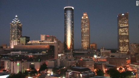 The skyline of downtown Atlanta at sunset.