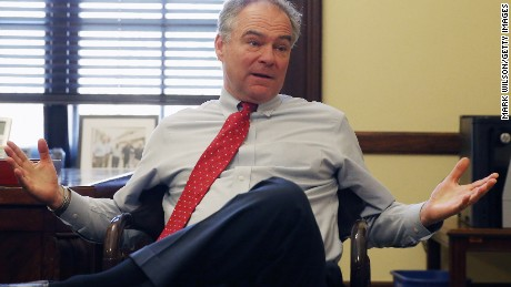 Sen. Tim Kaine (D-VA), speaks while meeting with the Orellana family of Arlington, Virginia, in anticipation of next weeks oral arguments in U.S. v. Texas at the Supreme Court, on Capitol Hill, April 15, 2016 in Washington, D.C.