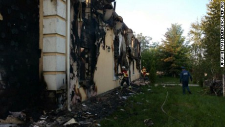 The charred remains of a home for the elderly in Litki, Ukraine, where 17 people perished.