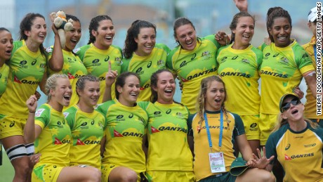 Australia's players jubilate after winning the HSBC World Rugby Women's Sevens Series match between Australia and Spain  on May 29, 2016 at the Gabriel Montpied stadium in Clermont-Ferrand, central France. AFP PHOTO / THIERRY ZOCCOLAN / AFP / THIERRY ZOCCOLAN        (Photo credit should read THIERRY ZOCCOLAN/AFP/Getty Images)