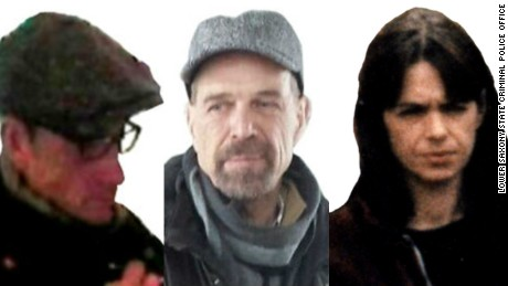 Images released by German police believed to be of wanted former Baader-Meinhof Group members Burkhard Garweg, left, Ernst-Volker Staub and Daniela Klette.