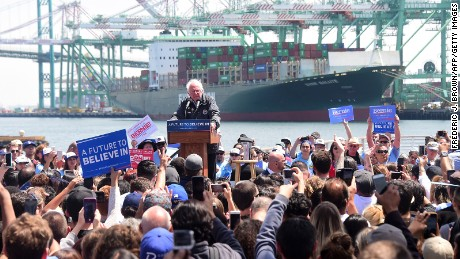 Democratic Party candidate Bernie Sanders speaks on May 27, 2016 in the San Pedro port district of Los Angeles, California, ahead of the June 7 California vote.