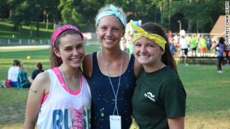 Abi Yates (left) is the first Camp Kesem camper to go on and work for the organization.