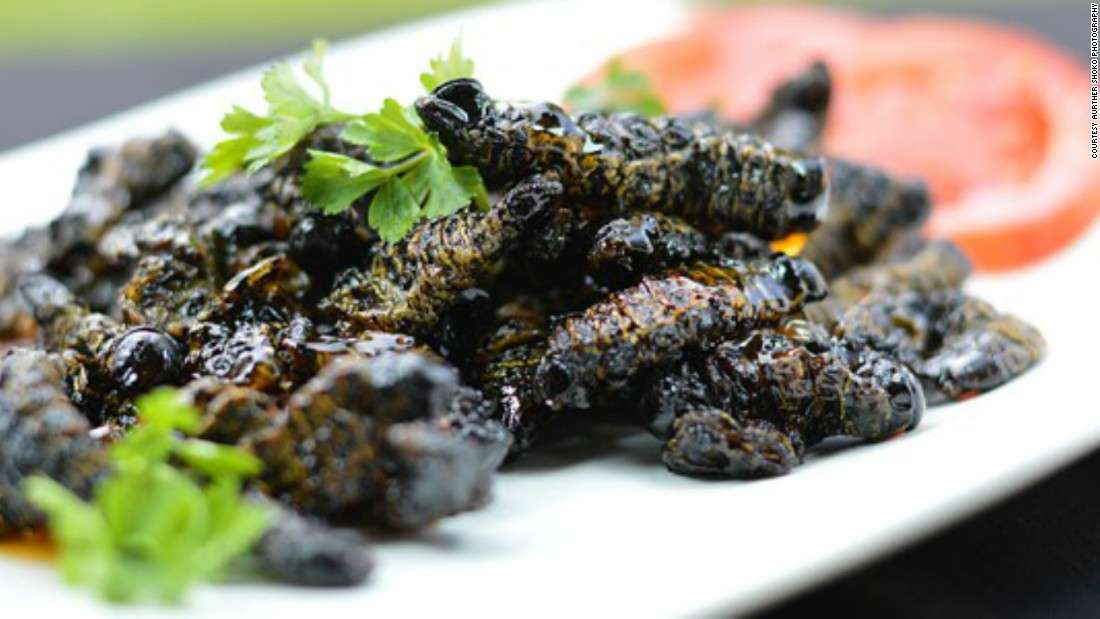 """<a href=""""http://www.zimbokitchen.com/sweet-chilli-lemon-amacimbi-mopane-worms/"""" target=""""_blank"""">Amacimbi (mopane worms)</a> are popular in  Zimbabwe. Here they have been given a modern twist, cooked with sweet chilli sauce and fresh lemon."""