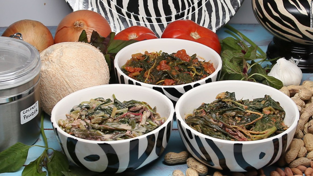 """Miriam Kinunda makes dishes with local ingredients such as these Amaranth leaves. She shares the recipes <a href=""""https://miriamkinunda.com/"""" target=""""_blank"""">on her website</a>, her <a href=""""https://www.youtube.com/channel/UC3N9GXTvrKYbCNUPux0pb0g"""" target=""""_blank"""">YouTube channel</a> and in her cookbooks."""
