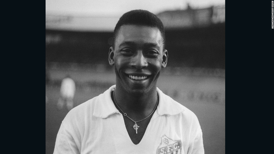 """Pictured wearing a Santos jersey in 1961, a similar shirt is also estimated to attract bids of $10,000. A """"conservative estimate"""" on the 2000-item collection has been placed at $5.1 million."""