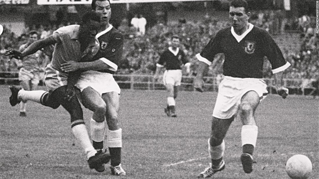 A 17-year-old Pele is pictured during the 1958 World Cup quarterfinals against Wales. The Brazilian also holds the world record for the youngest player to appear in and score in a World Cup final.