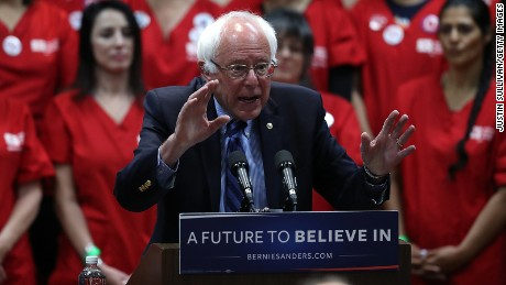 Sen. Bernie Sanders (I-VT) speaks during a press conference on health care on May 31, 2016 in Emeryville, California.