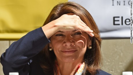 Former Costa Rica's president (2010-2014) Laura Chinchilla gestures during a press conference in Caracas on December 4, 2015. Pastrana and Chinchilla are in Venezuela as observers of December 6th, legislative elections. AFP   PHOTO/JUAN BARRETO / AFP / JUAN BARRETO        (Photo credit should read JUAN BARRETO/AFP/Getty Images)