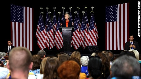Democratic presidential candidate former Secretary of State Hillary Clinton delivers a national security address on June 2, 2016 in San Diego, California.