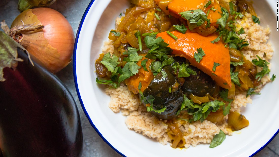 """""""I am a Moroccan girl, I grew up in Brussels in a family seriously obsessed with food,"""" says Benkabbou, who cooked this aubergine and pumpkin tagine."""